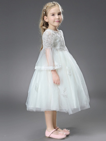 Princess / Ball Gown Ankle Length / Royal Length Train Wedding / First Communion Flower Girl Dresses - Tulle / Matte Satin Long Sleeve Jewel Neck With Beading / Appliques / Butterfly_7