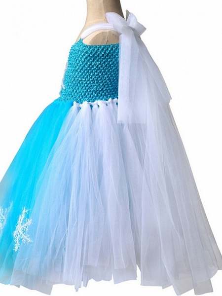Princess Maxi Pageant Flower Girl Dresses - Polyester Sleeveless Jewel Neck With Bow(S) / Color Block_3