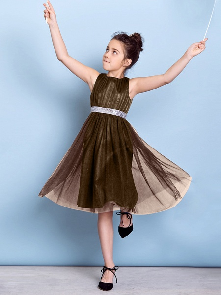 A-Line Jewel Neck Knee Length Tulle Junior Bridesmaid Dress With Sash / Ribbon / Sequin / Draping / Natural_28