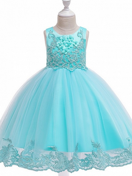 Ball Gown Knee Length Wedding / Party Flower Girl Dresses - Tulle Sleeveless Jewel Neck With Bow(S) / Appliques_11