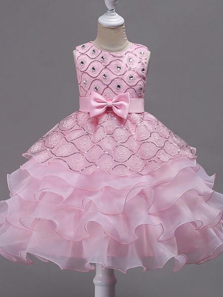 Princess Midi Wedding / Birthday / Pageant Flower Girl Dresses - Organza / Satin Sleeveless Jewel Neck With Bow(S) / Embroidery / Crystals / Rhinestones_3