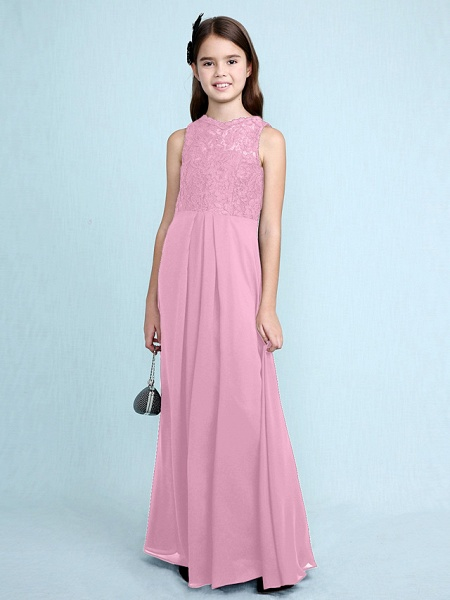 Sheath / Column Scoop Neck Floor Length Chiffon / Lace Junior Bridesmaid Dress With Lace / Natural_14