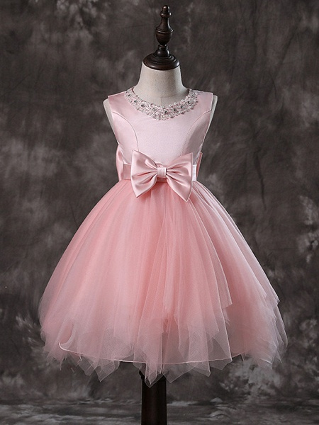 Princess / A-Line Knee Length / Medium Length Wedding / First Communion / Pageant Flower Girl Dresses - Tulle / Satin Chiffon / Polyester Sleeveless Jewel Neck With Faux Pearl / Bow(S) / Tier_2