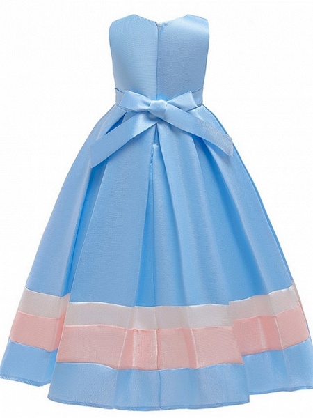 A-Line Round Floor Length Cotton Junior Bridesmaid Dress With Bow(S) / Ruching_5