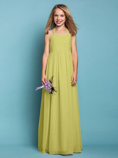 Sheath / Column Halter Neck Floor Length Chiffon Junior Bridesmaid Dress With Ruched / Spring / Summer / Fall / Apple / Hourglass_18