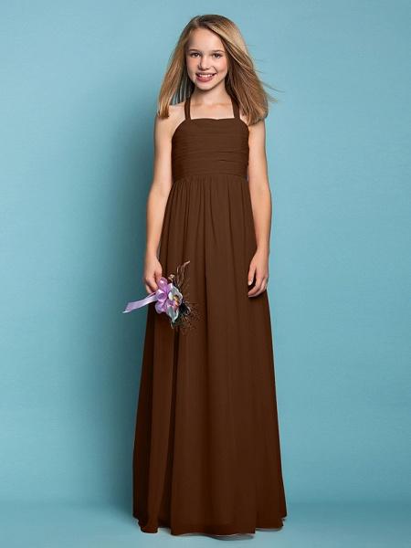 Sheath / Column Halter Neck Floor Length Chiffon Junior Bridesmaid Dress With Ruched / Spring / Summer / Fall / Apple / Hourglass_23