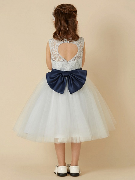 A-Line Knee Length Lace / Tulle Sleeveless Scoop Neck With Sash / Ribbon / Bow(S)_2