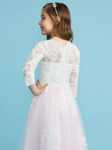 Princess / A-Line Crew Neck Floor Length Lace Junior Bridesmaid Dress With Lace_7