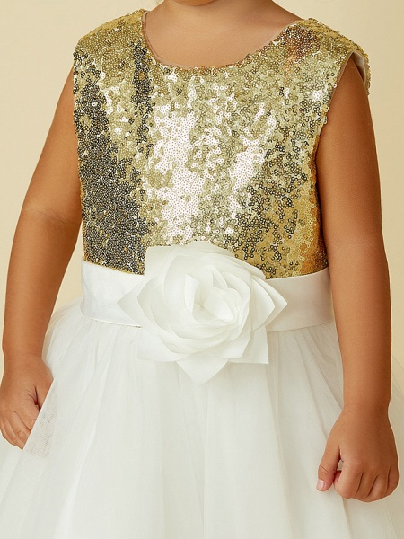 Princess Knee Length Pageant Flower Girl Dresses - Tulle / Sequined Sleeveless Jewel Neck With Sash / Ribbon / Bow(S) / Flower_8