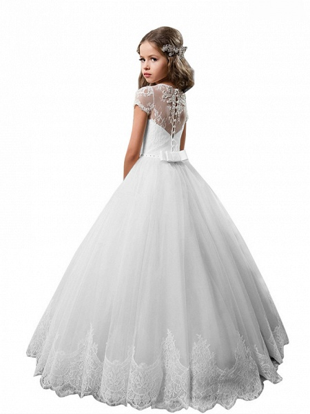 Princess Floor Length Wedding / Birthday / First Communion Flower Girl Dresses - Cotton / Nylon With A Hint Of Stretch / Lace / Tulle Short Sleeve Jewel Neck With Lace / Crystals / Rhinestones_2