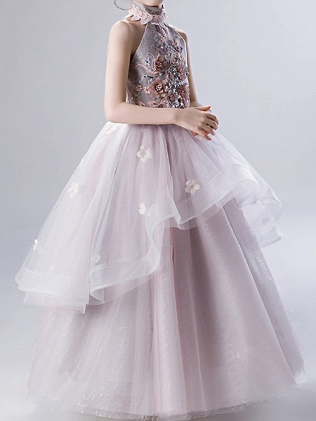 Ball Gown Ankle Length Pageant Flower Girl Dresses - Polyester Sleeveless High Neck With Ruffles / Appliques_4