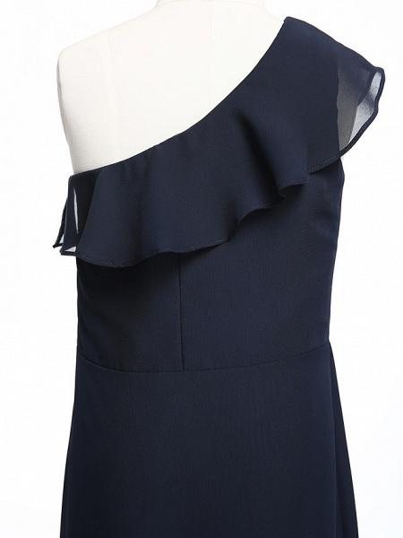 A-Line One Shoulder Floor Length Chiffon Junior Bridesmaid Dress With Ruffles / Natural_4