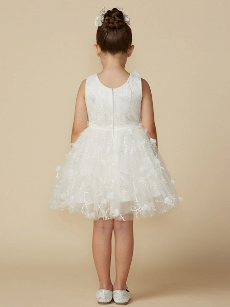 Princess Short Length Wedding / First Communion Lace Sleeveless Jewel Neck With Belt / Bow(S)_2