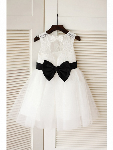 A-Line Tea Length Wedding / First Communion Flower Girl Dresses - Lace / Satin / Tulle Sleeveless Jewel Neck With Belt_1