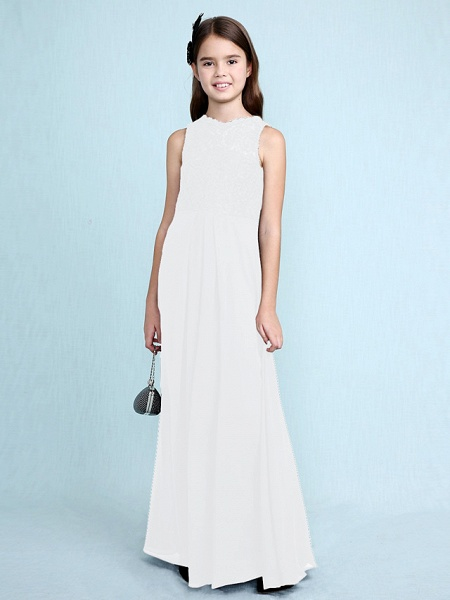 Sheath / Column Scoop Neck Floor Length Chiffon / Lace Junior Bridesmaid Dress With Lace / Natural_22