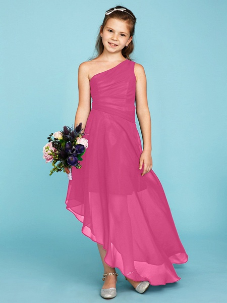 A-Line One Shoulder Asymmetrical Chiffon Junior Bridesmaid Dress With Side Draping / Wedding Party_24