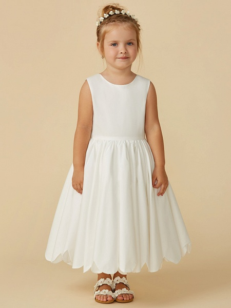 A-Line Tea Length Wedding / First Communion Flower Girl Dresses - Taffeta Sleeveless Jewel Neck With Sash / Ribbon / Pleats_7