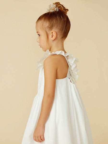 A-Line Ankle Length Wedding / First Communion Flower Girl Dresses - Lace / Cotton Sleeveless Straps With Pleats_9