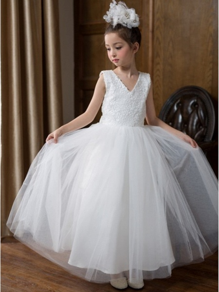 Ball Gown Floor Length Wedding Flower Girl Dresses - Chiffon Sleeveless V Neck With Bow(S) / Solid_2