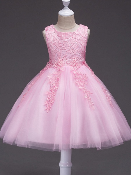 Princess Knee Length Party / Pageant Flower Girl Dresses - Tulle / Polyester Sleeveless Jewel Neck With Lace / Appliques_2