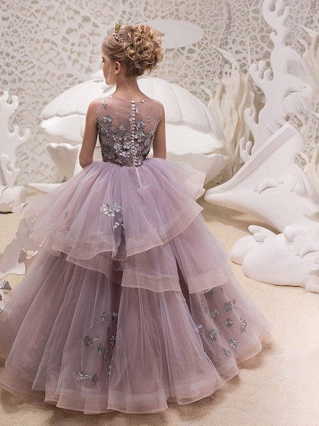 Princess Maxi Party / Birthday / Pageant Flower Girl Dresses - Lace / Organza / Tulle Sleeveless Jewel Neck With Lace / Appliques_2