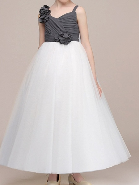 Ball Gown Floor Length Pageant Flower Girl Dresses - Polyester Sleeveless Spaghetti Strap With Color Block_1