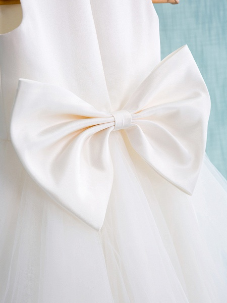 Ball Gown Knee Length Wedding / First Communion Flower Girl Dresses - Satin / Tulle Sleeveless Jewel Neck With Bow(S) / Beading_5