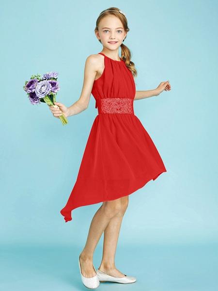 Sheath / Column Jewel Neck Asymmetrical Chiffon Junior Bridesmaid Dress With Sequin / Natural_31