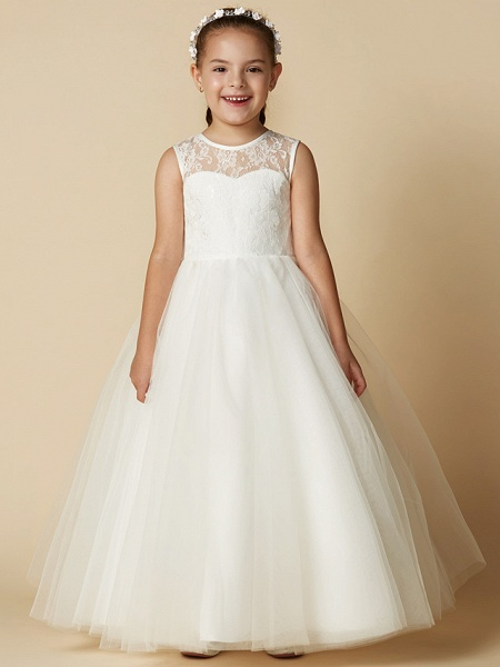 Princess Ankle Length Wedding / First Communion Flower Girl Dresses - Lace / Tulle Sleeveless Jewel Neck With Sash / Ribbon / Bow(S) / Flower_7