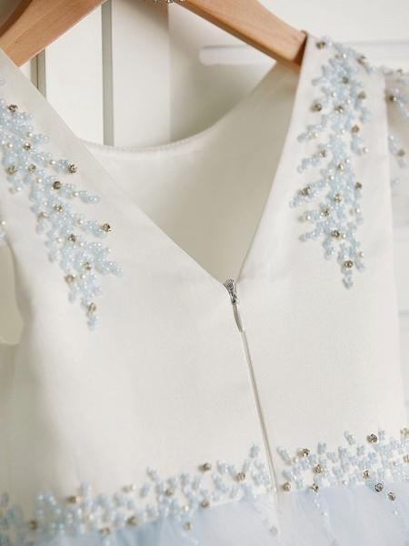 Princess Tea Length Wedding / Birthday / Pageant Flower Girl Dresses - Satin / Tulle Cap Sleeve Jewel Neck With Beading_6