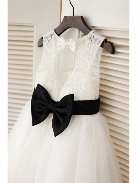 A-Line Tea Length Wedding / First Communion Flower Girl Dresses - Lace / Satin / Tulle Sleeveless Jewel Neck With Belt_2