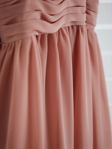 A-Line V Neck Maxi Chiffon Junior Bridesmaid Dress With Pleats / Ruching_12