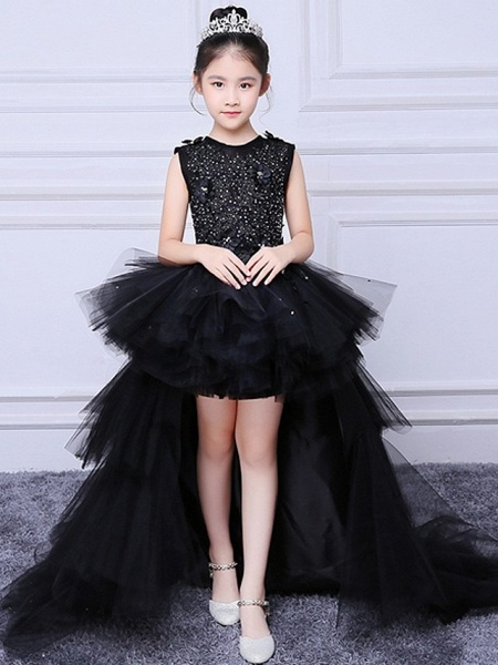 A-Line Asymmetrical Wedding / Pageant Flower Girl Dresses - Tulle Sleeveless Jewel Neck With Tier / Appliques_6