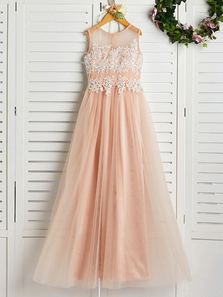 A-Line Jewel Neck Sweep / Brush Train Lace / Tulle Junior Bridesmaid Dress With Appliques_1