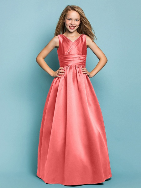 Princess / A-Line V Neck Floor Length Satin Junior Bridesmaid Dress With Sash / Ribbon / Criss Cross / Spring / Summer / Fall / Apple / Hourglass_12