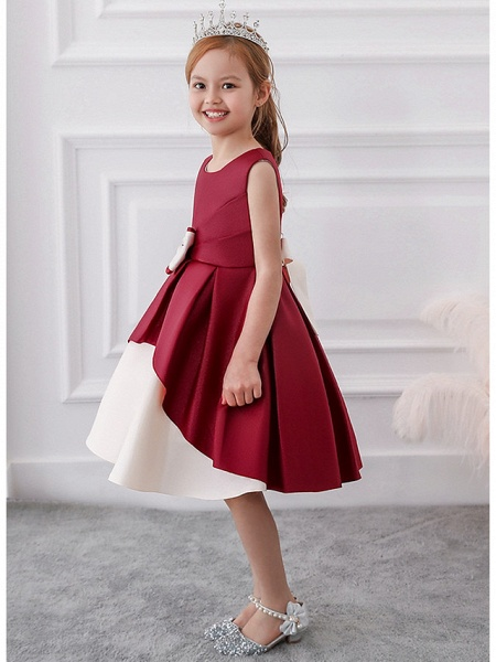Princess / A-Line Knee Length Wedding / Party Flower Girl Dresses - Mikado Sleeveless Jewel Neck With Bow(S) / Tiered_7