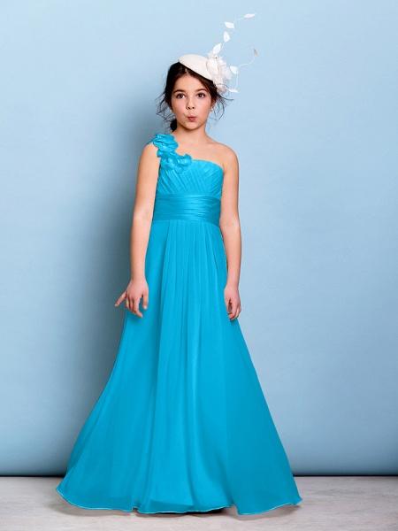 A-Line One Shoulder Floor Length Chiffon Junior Bridesmaid Dress With Sash / Ribbon / Criss Cross / Ruched / Natural_31