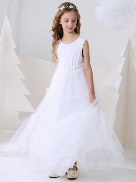 Ball Gown Floor Length Event / Party Flower Girl Dresses - Polyester Sleeveless Jewel Neck With Pattern / Print_2