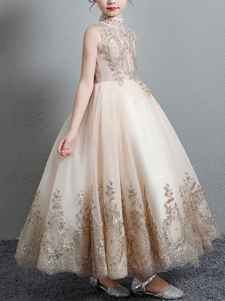 A-Line Floor Length Pageant Flower Girl Dresses - Polyester Sleeveless High Neck With Paillette_4