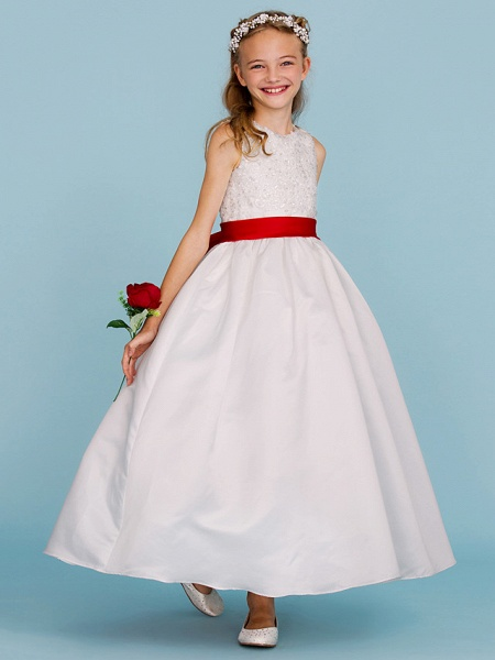 Ball Gown Crew Neck Ankle Length Lace / Satin Junior Bridesmaid Dress With Sash / Ribbon / Bow(S) / Beading / Color Block / Wedding Party_4