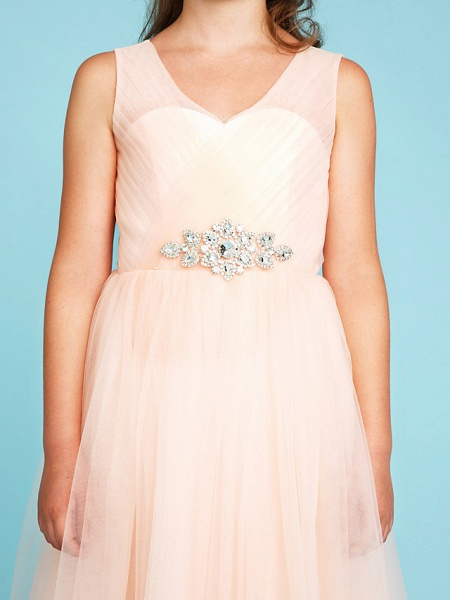 Princess / A-Line V Neck Floor Length Tulle Junior Bridesmaid Dress With Criss Cross / Crystals / Wedding Party_7
