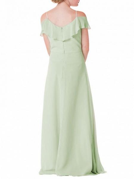 A-Line Spaghetti Strap Floor Length Chiffon Junior Bridesmaid Dress With Ruffles_2