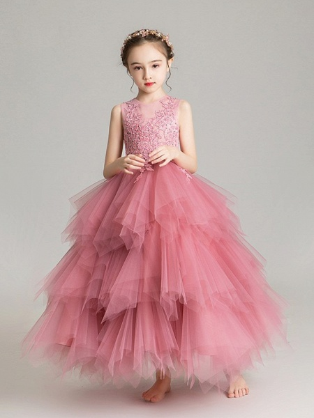 Ball Gown Floor Length First Communion Flower Girl Dresses - Chiffon Sleeveless Jewel Neck With Tier / Crystals / Rhinestones_7