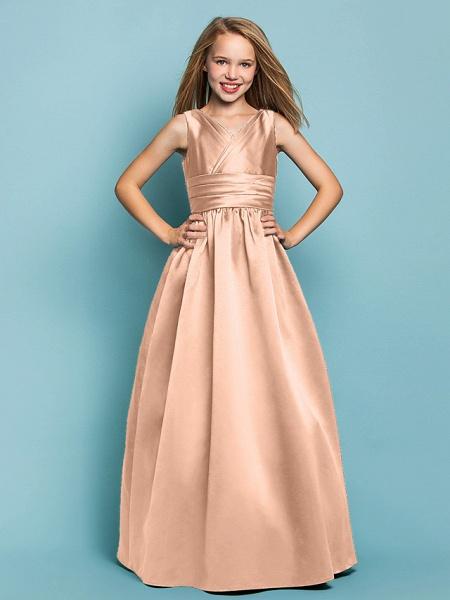 Princess / A-Line V Neck Floor Length Satin Junior Bridesmaid Dress With Sash / Ribbon / Criss Cross / Spring / Summer / Fall / Apple / Hourglass_11