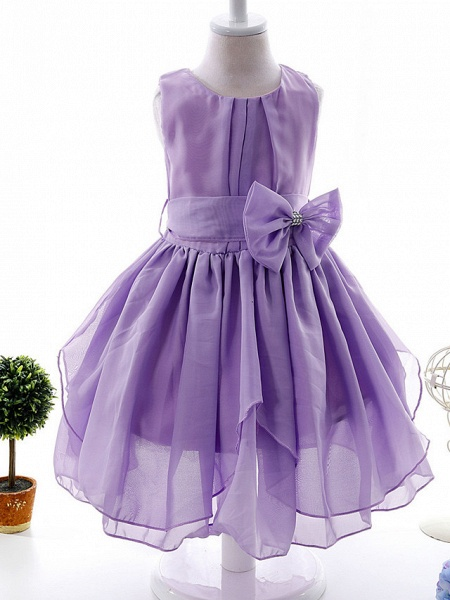 Ball Gown Ankle Length Wedding / Party Flower Girl Dresses - Tulle Sleeveless Jewel Neck With Bow(S) / Tier / Solid_6