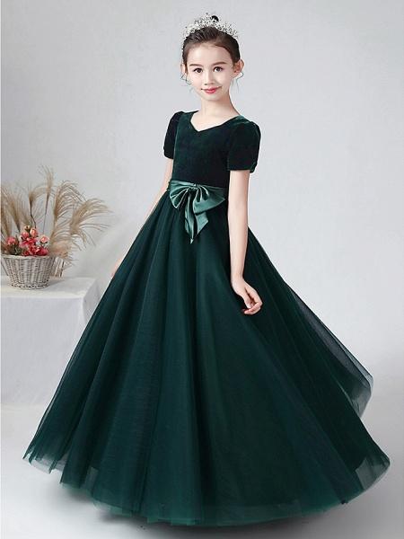 Ball Gown Floor Length Wedding / Party Flower Girl Dresses - Tulle / Velvet Short Sleeve Bateau Neck With Bow(S)_7