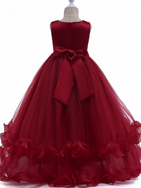 Princess Round Floor Length Cotton Junior Bridesmaid Dress With Bow(S) / Crystals / Appliques_3