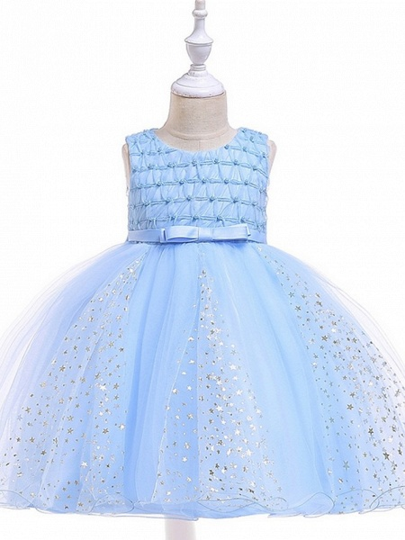 Princess / Ball Gown Knee Length Wedding / Party Flower Girl Dresses - Tulle Sleeveless Jewel Neck With Sash / Ribbon / Beading / Appliques_6