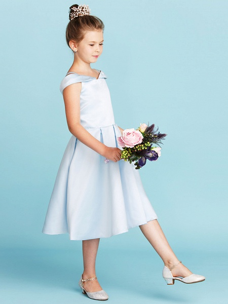 Princess / A-Line Off Shoulder Tea Length Satin Junior Bridesmaid Dress With Pleats_3
