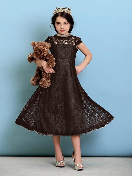 Princess / A-Line Jewel Neck Tea Length Lace Junior Bridesmaid Dress With Pleats / Natural_25